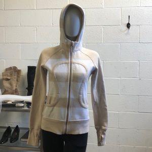 Lululemon tan & white scuba hoodie sz 6 61729